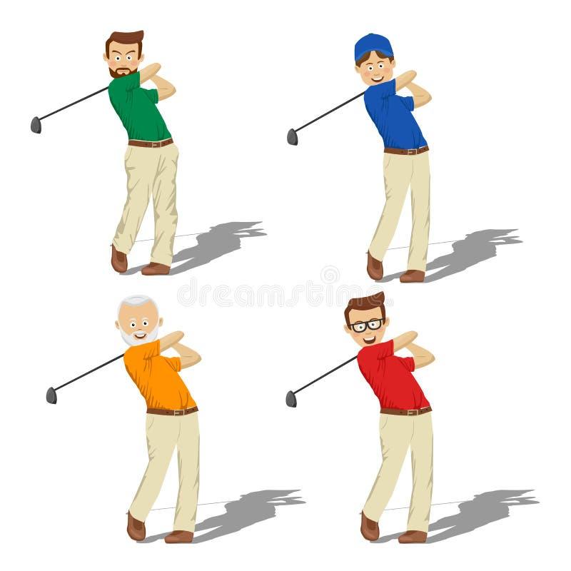 击中球的不同的年龄的四名高尔夫球男性球员 皇族释放例证