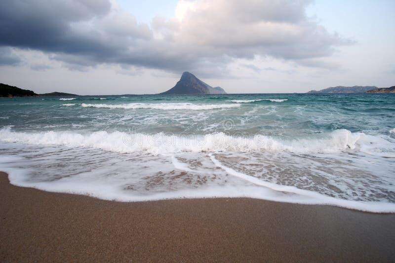 击中的波浪岸上 免版税库存图片