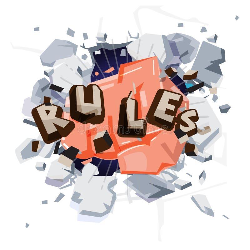击中规则的拳头手 断裂规则概念-传染媒介 向量例证