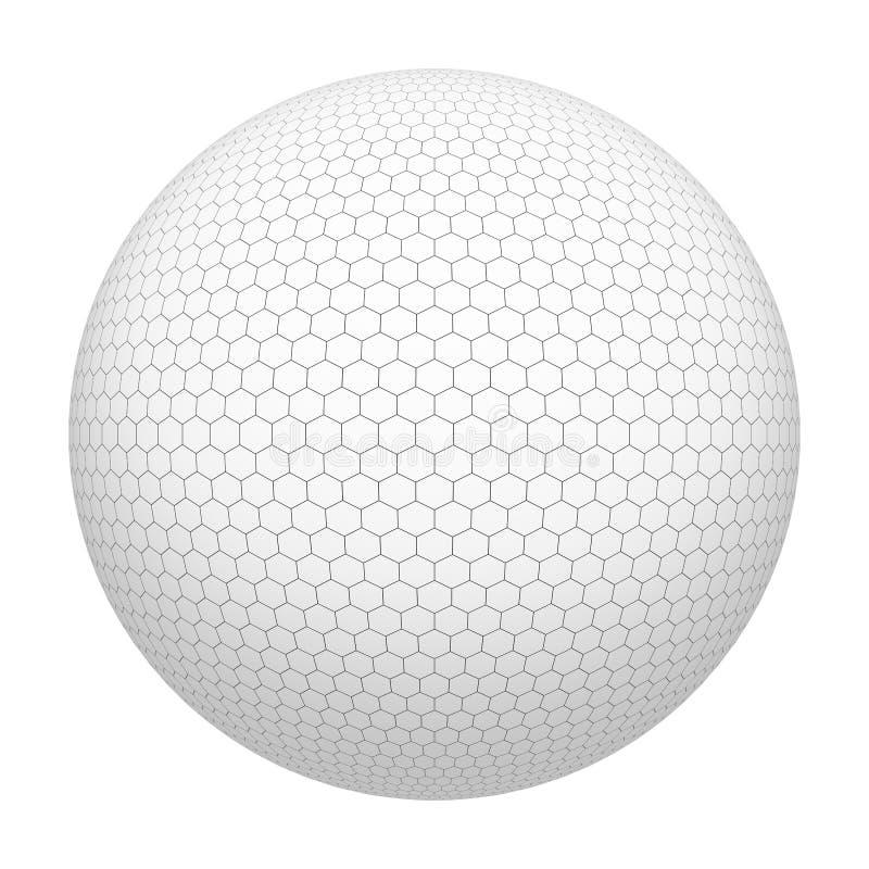 击中铁行动的球高尔夫球 白色六角形形状样式 在白色背景隔绝的球形简单的滤网 嘲笑设计 3d摘要 向量例证