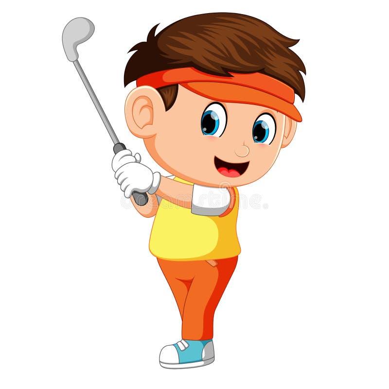 击中高尔夫球球击的高尔夫球运动员 皇族释放例证