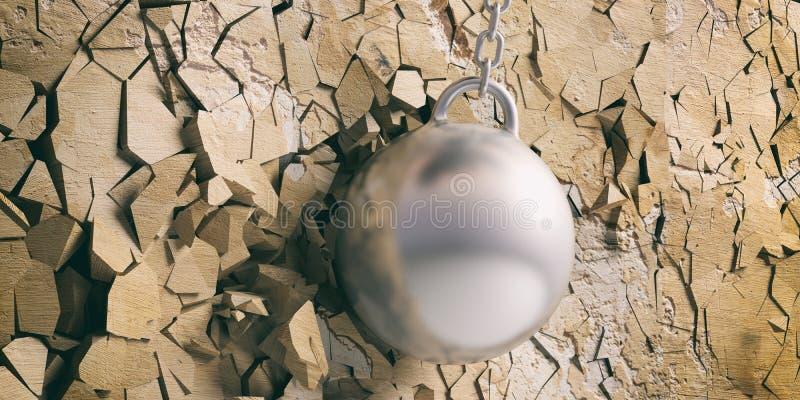 击毁击中和打破金黄墙壁的球 3d例证 库存例证