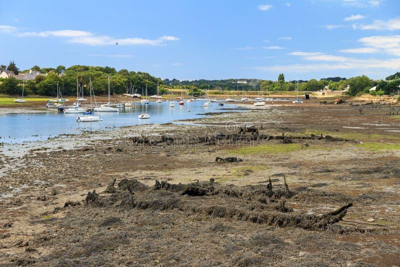 击毁处于低潮中在洛里昂 图库摄影