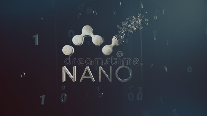 击碎商标3d例证的纳诺cryptocurrency 库存照片