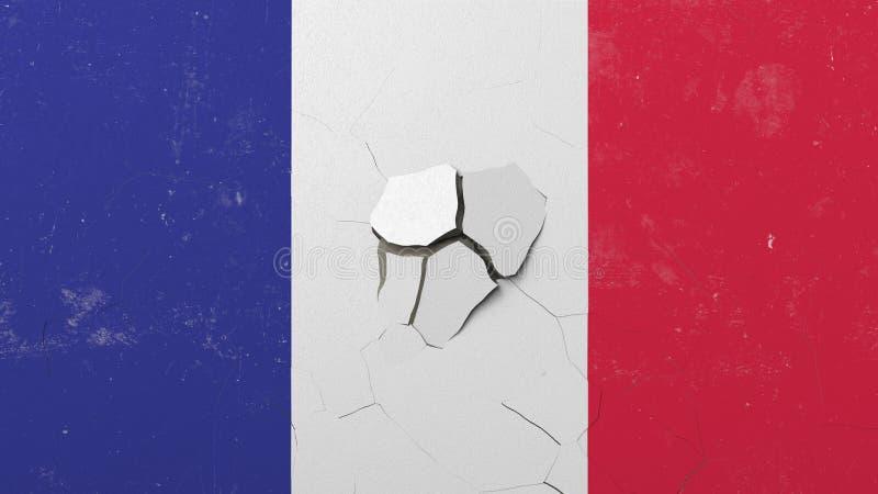 击碎有法国的旗子的混凝土墙 法国危机概念性社论3D翻译 皇族释放例证