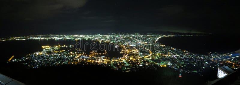 函馆,北海道,日本晚上视图 免版税图库摄影