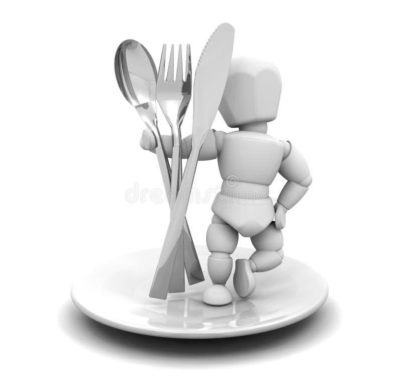 刀叉餐具人员 皇族释放例证
