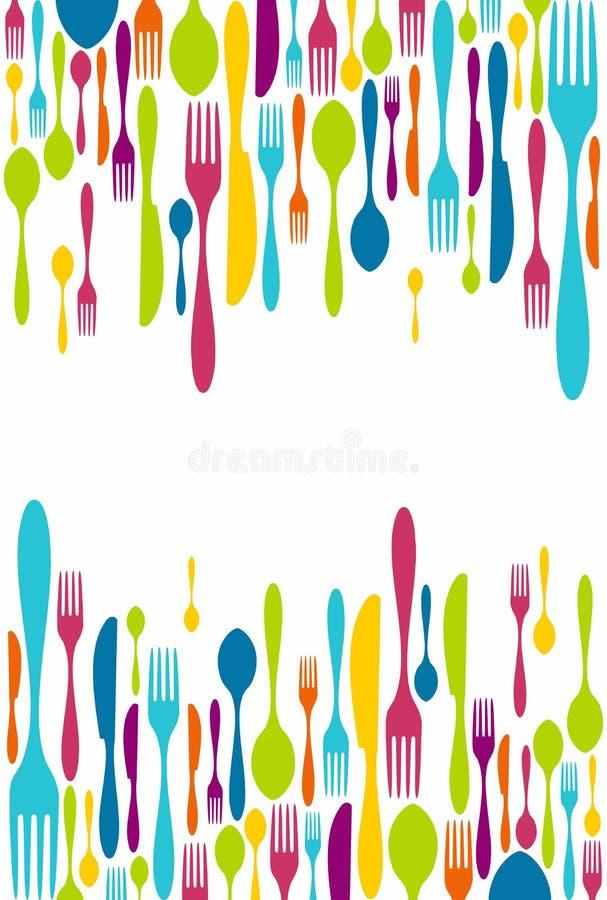 刀叉餐具剪影图标背景 向量例证
