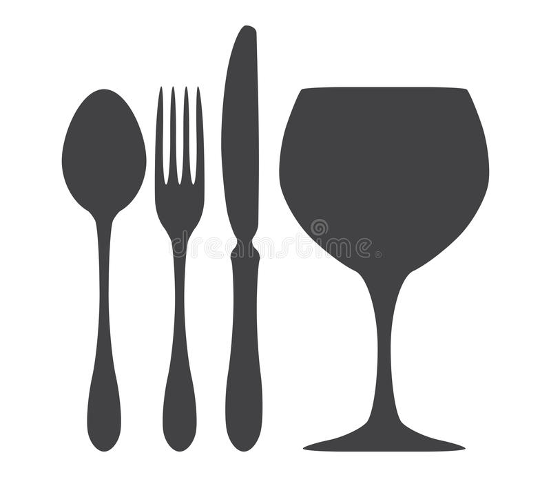刀叉餐具匙子刀子叉子玻璃例证 向量例证