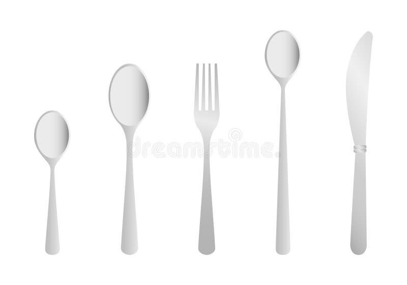 刀叉餐具叉子匙子 向量例证
