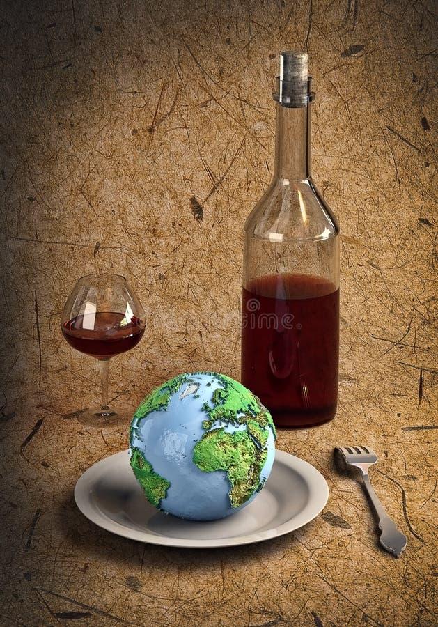 刀叉餐具地球 库存例证