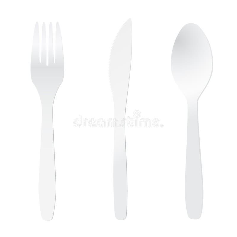 刀叉餐具塑料白色 向量例证