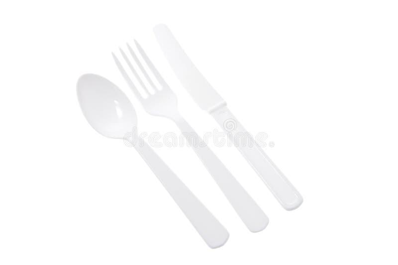 刀叉餐具塑料 图库摄影