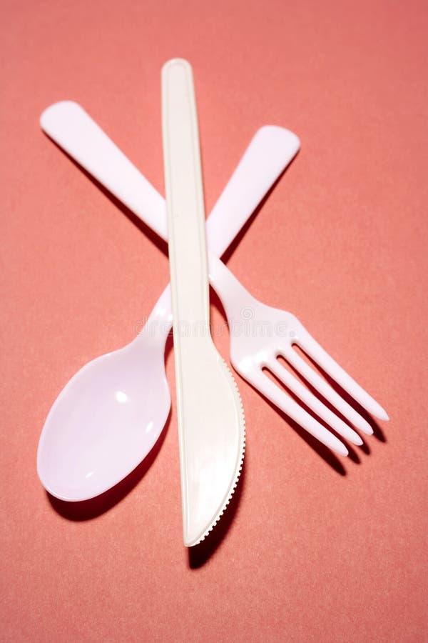 刀叉餐具塑料 库存照片
