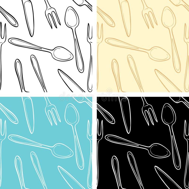 刀叉餐具无缝的模式 向量例证