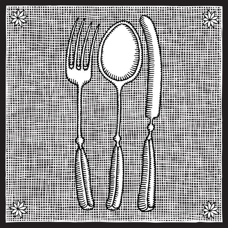 刀叉餐具木刻 向量例证