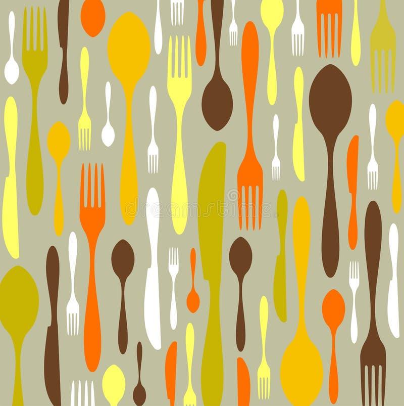 刀叉餐具模式 库存例证