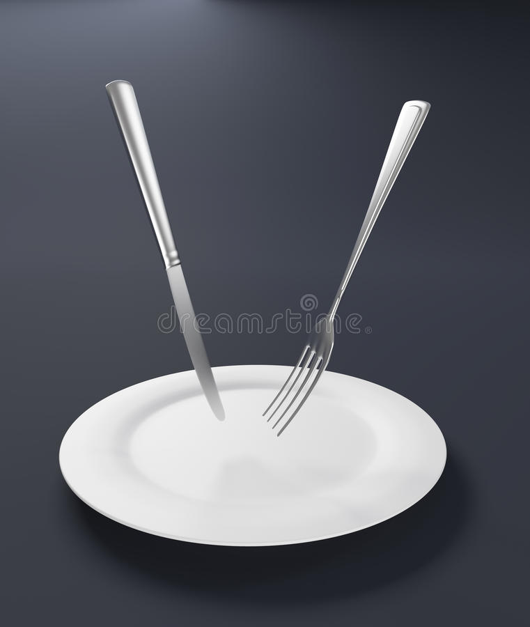 刀叉餐具浮动 免版税图库摄影