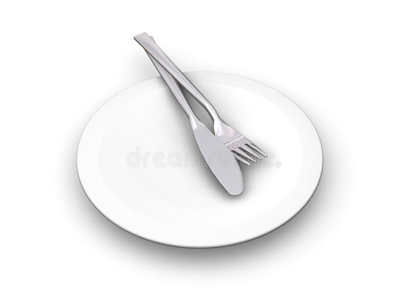 刀叉餐具牌照 库存例证