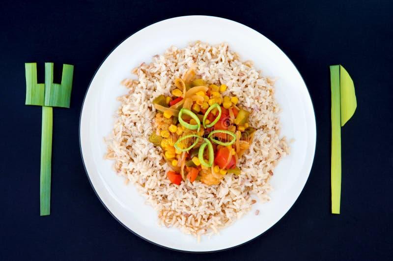 刀叉餐具盘米shrek蔬菜 库存图片