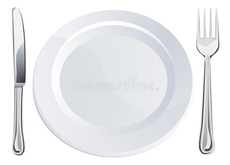 刀叉餐具空的叉子刀子牌照 库存例证