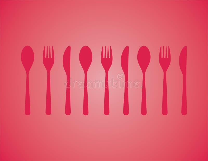 刀叉餐具红色 皇族释放例证