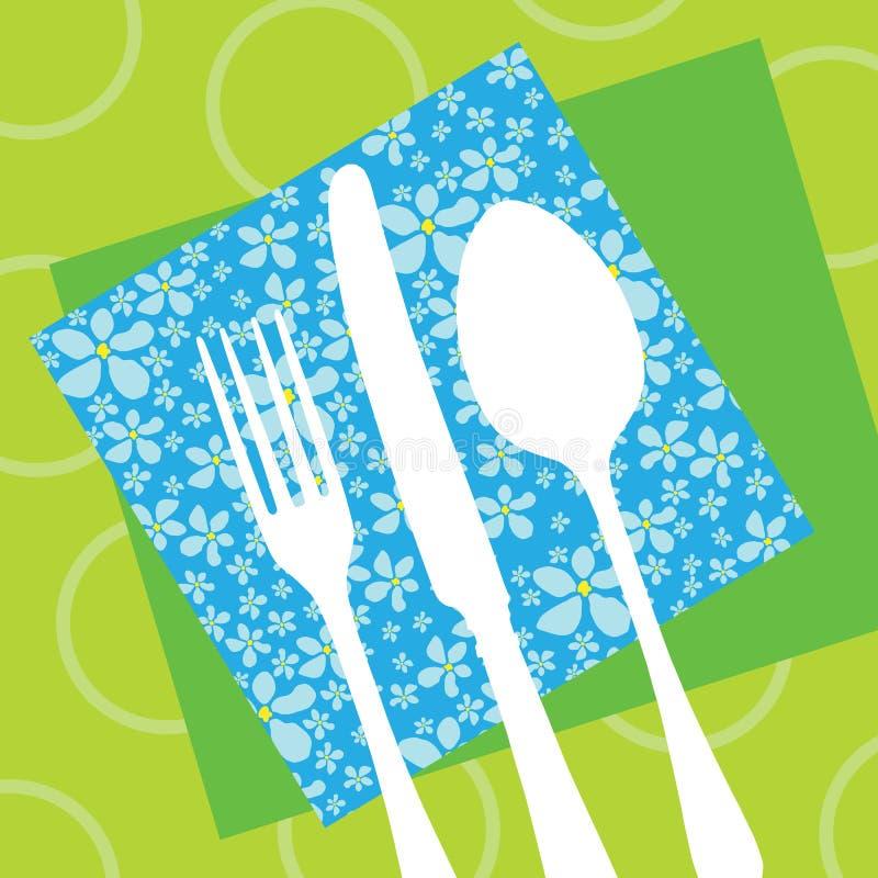 刀叉餐具设计餐馆剪影 库存例证