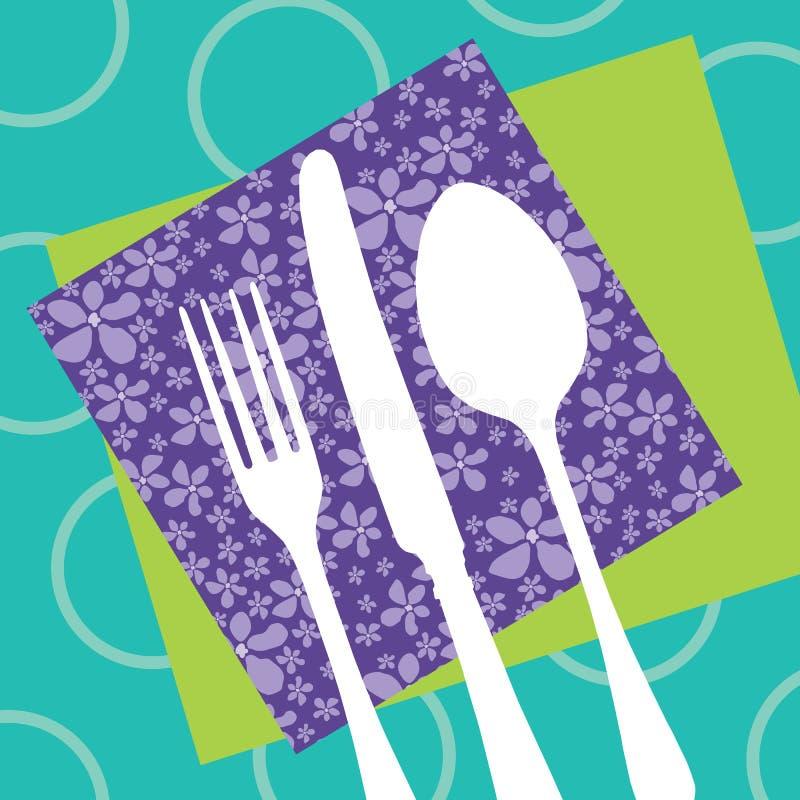 刀叉餐具设计餐馆剪影 皇族释放例证