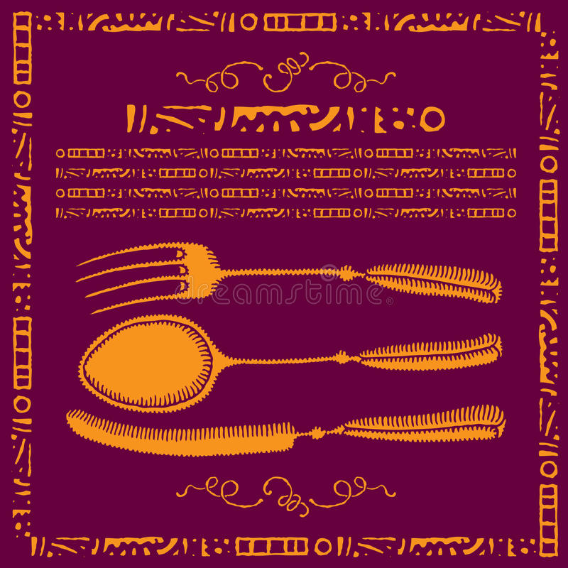 刀叉餐具金标签 向量例证