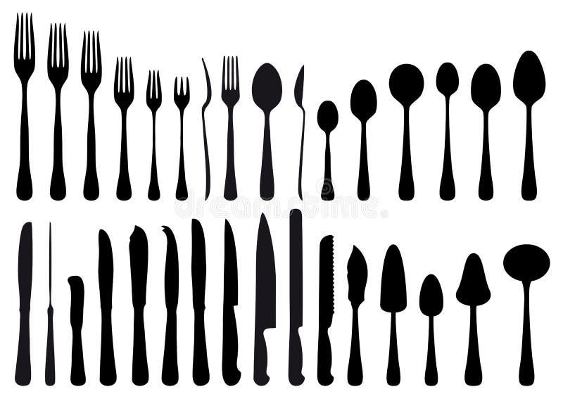 刀叉餐具集合向量 库存例证