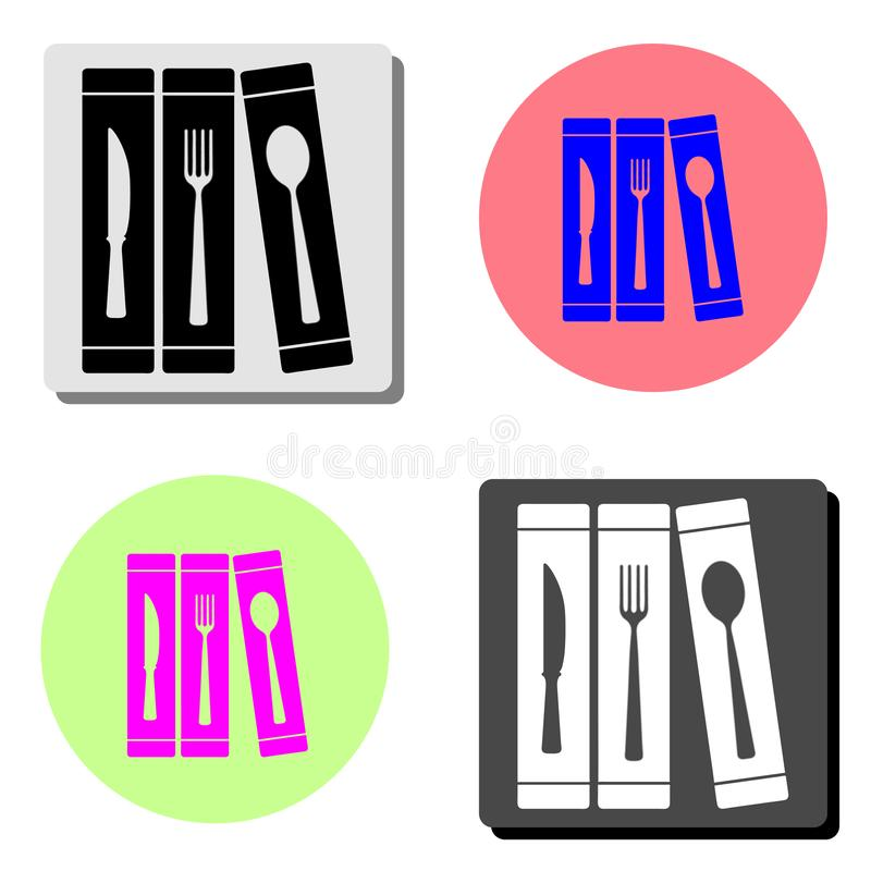 刀叉餐具 平的传染媒介象 向量例证
