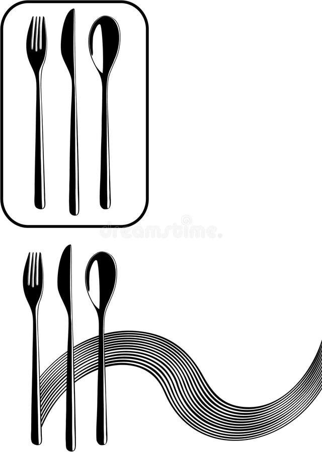 刀叉餐具 向量例证