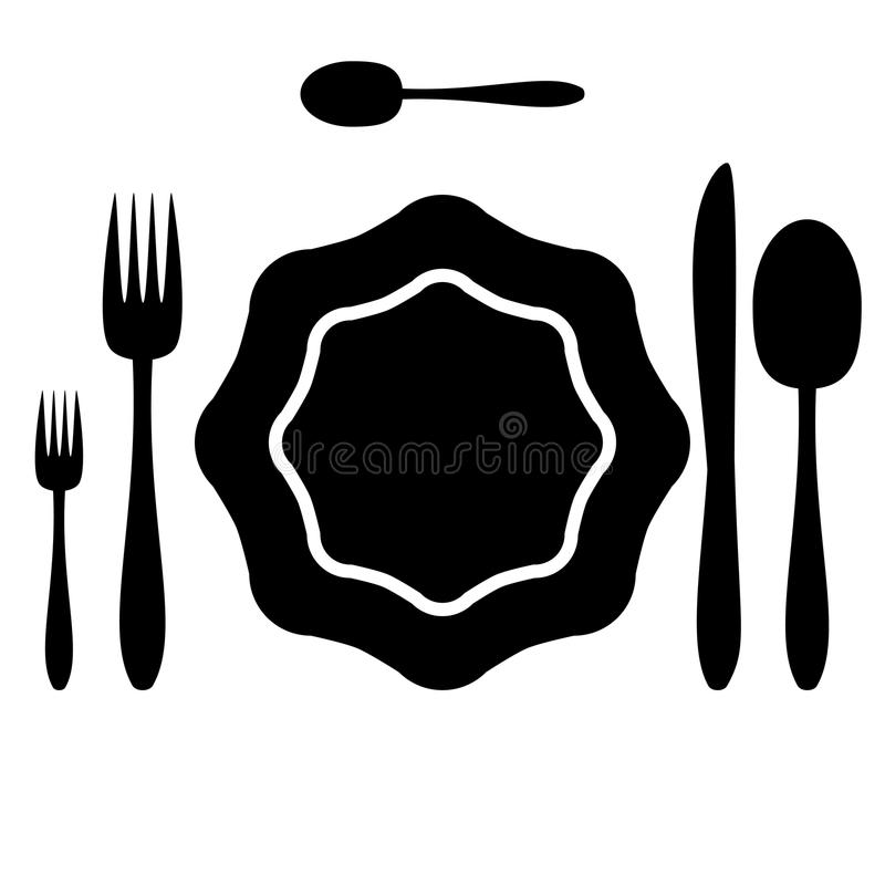 刀叉餐具 库存例证