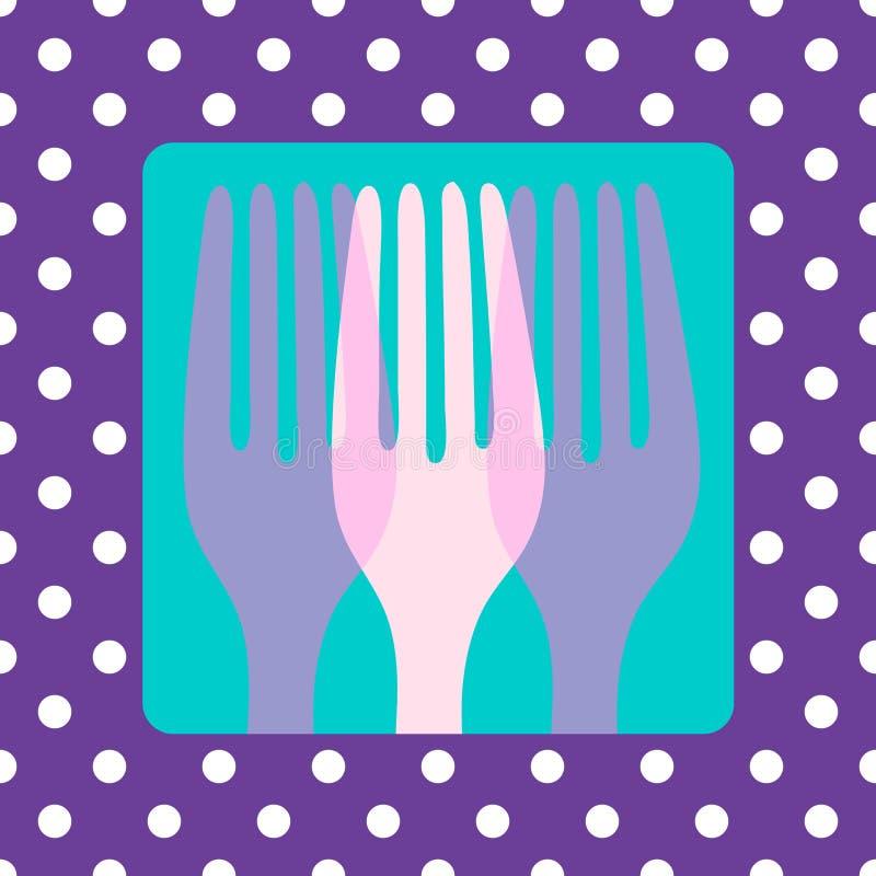 刀叉餐具polkadot 向量例证