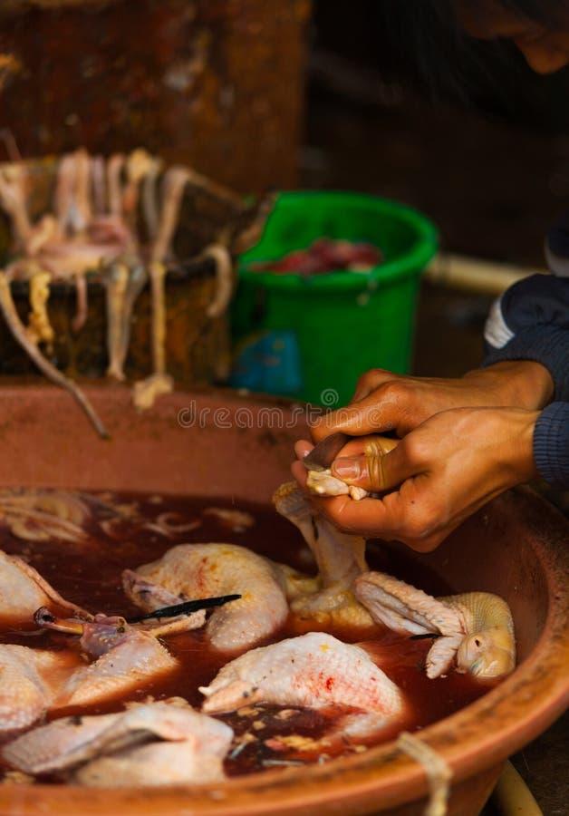 鸡切开未加工的新鲜的中国的屠杀刀子 库存照片