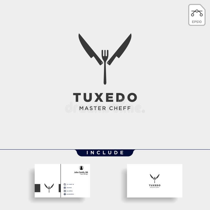 刀子叉子匙子无尾礼服简单的平的商标设计例证 库存例证