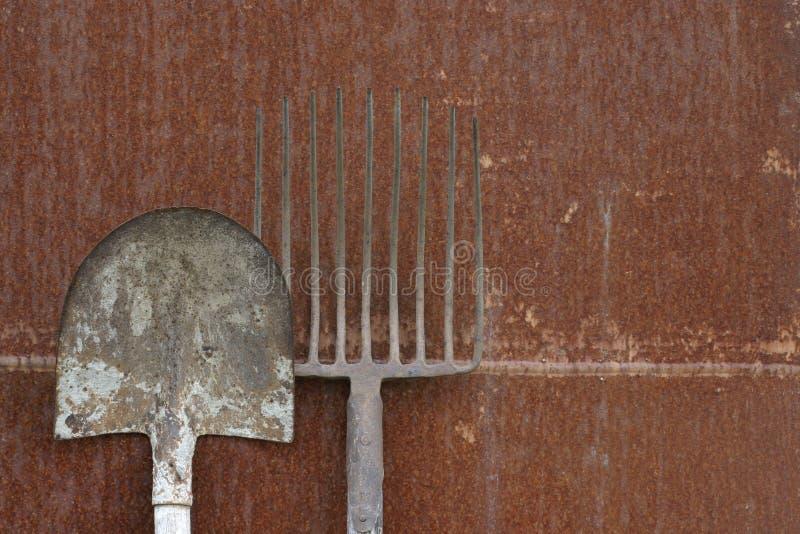 刀片叉子干草 库存照片