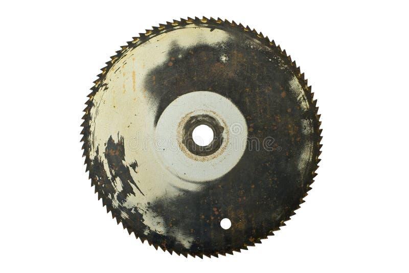 刀片圆的查出的生锈的锯 免版税库存图片