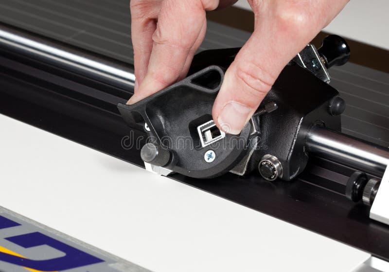 刀片接近的切割工席子照片 库存照片