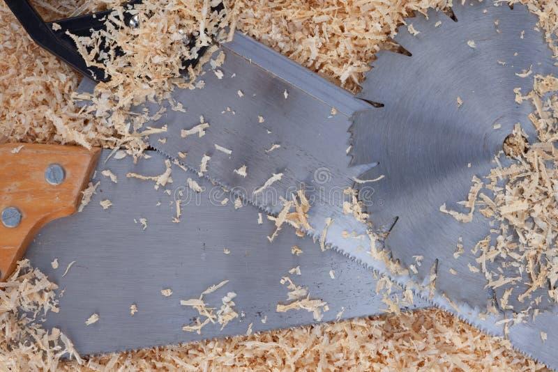 刀片看见了木的削片 库存图片