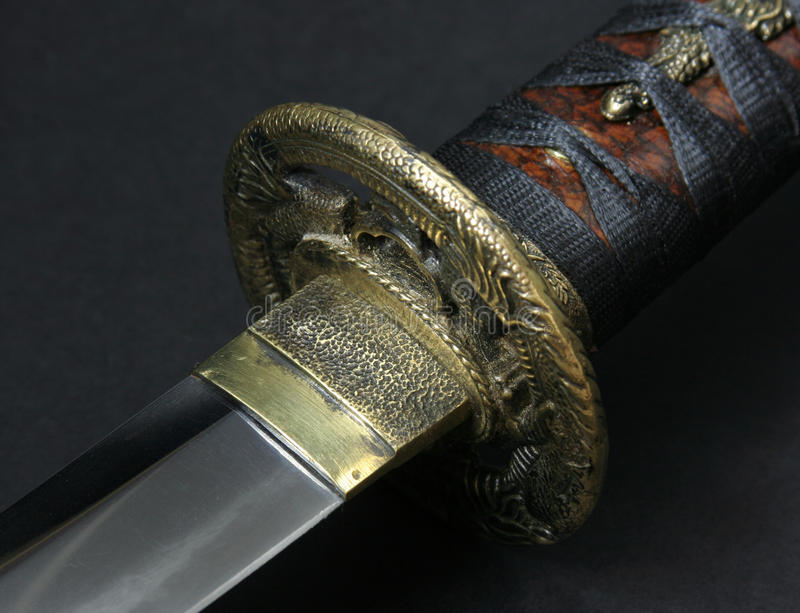 刀片tsuba wakizashi 库存照片