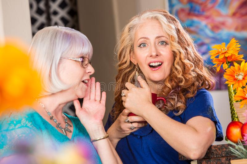 分享一个秘密的妇女在明亮的色的厨房里 免版税库存图片