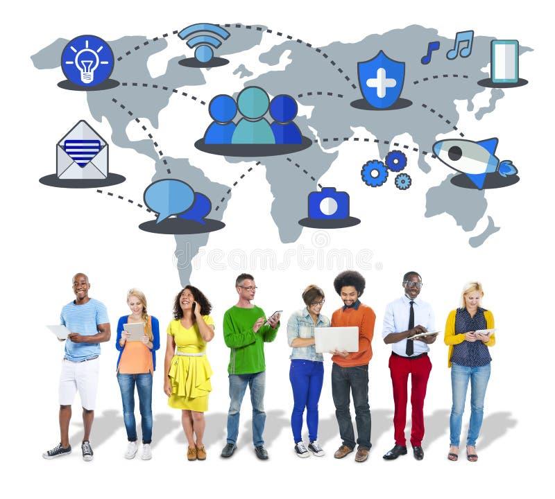 分享全球性通信连接概念的社会网络 免版税图库摄影