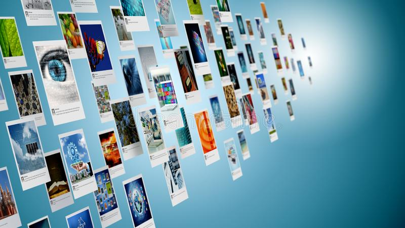 分享在互联网上的图象、照片或者图片概念 免版税库存图片