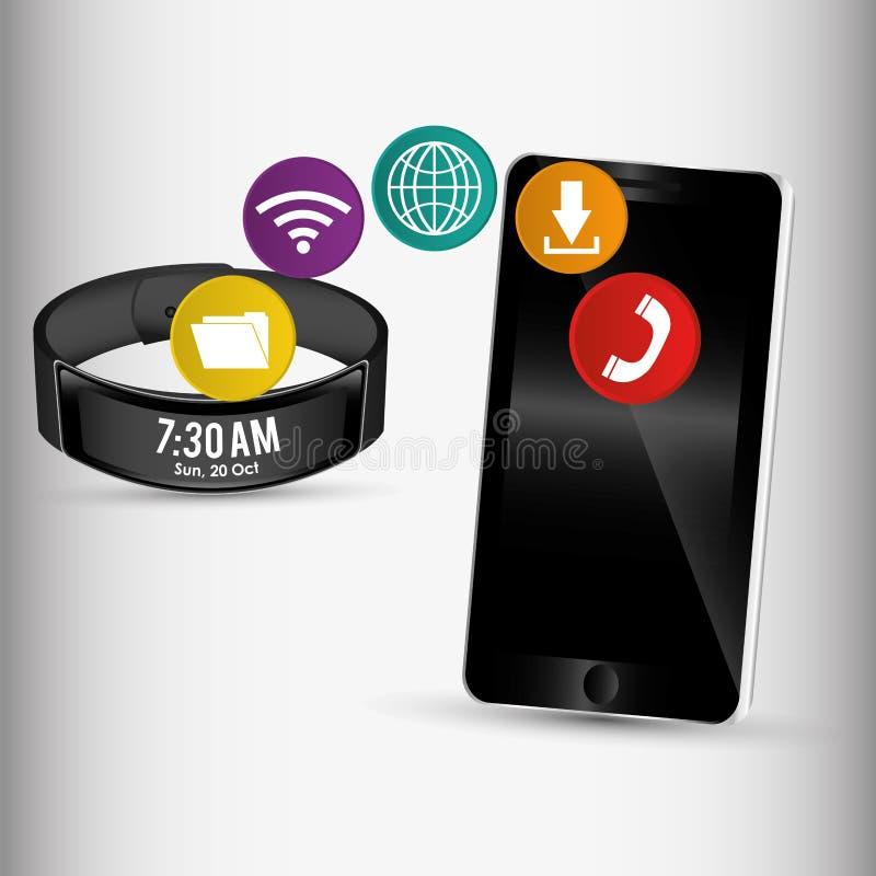 分享应用的智能手机和聪明的袖口 库存例证