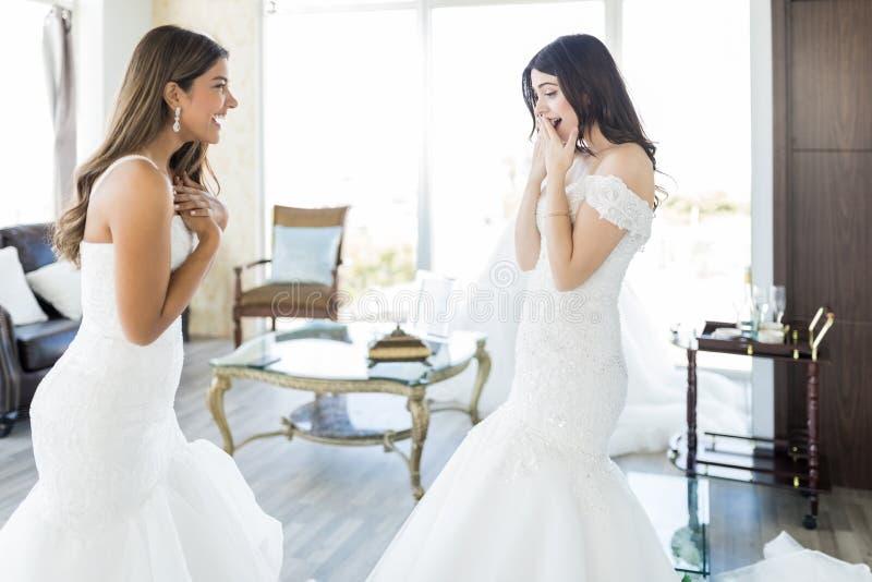 分享愉快的片刻的两个新娘 库存照片