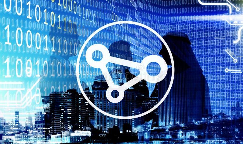 分享技术概念的商人二进制编码 免版税库存照片