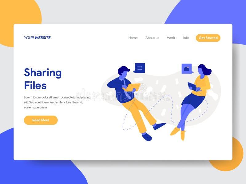 分享文件和文件例证概念登陆的页模板  网页设计的现代平的设计观念为 库存例证