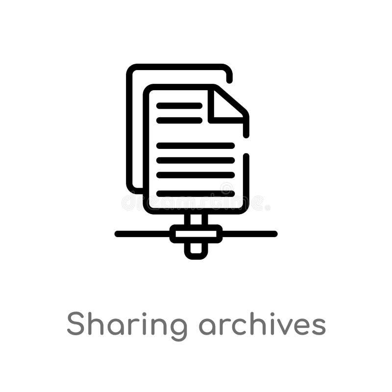 分享档案传染媒介象的概述 被隔绝的黑简单的从seo &网概念的线元例证 编辑可能的传染媒介 向量例证