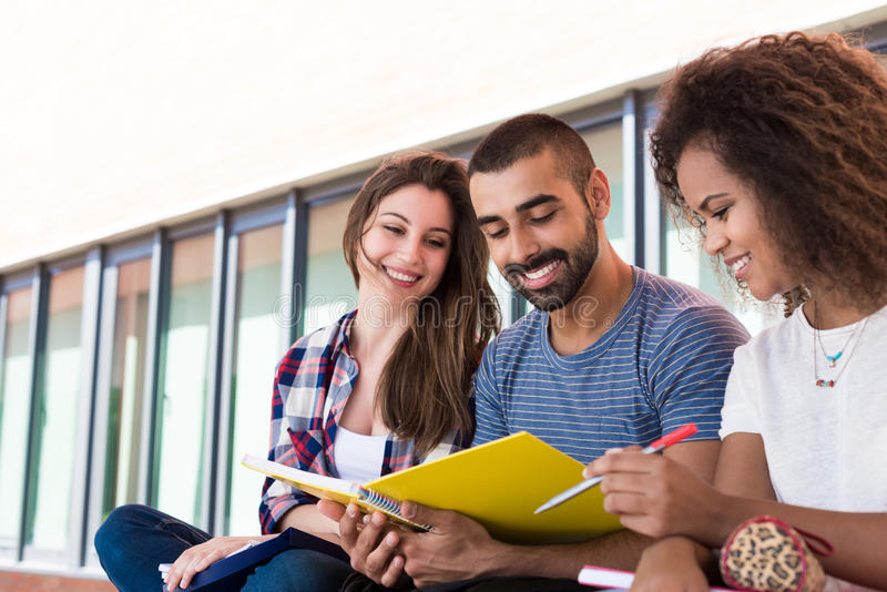 分享笔记的学生 免版税库存图片